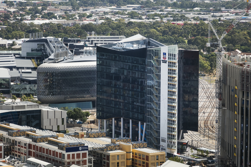 Aerial view of the Adelaide Health and Medical Sciences building