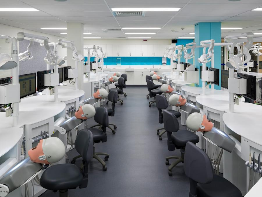 wide shot of Adelaide Dental Simulation Clinic, showing dental manikins and equipment