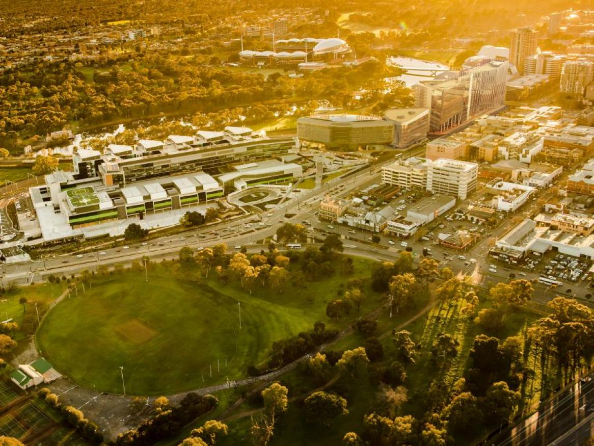 Aerial view of Adelaide BioMed City at dusk