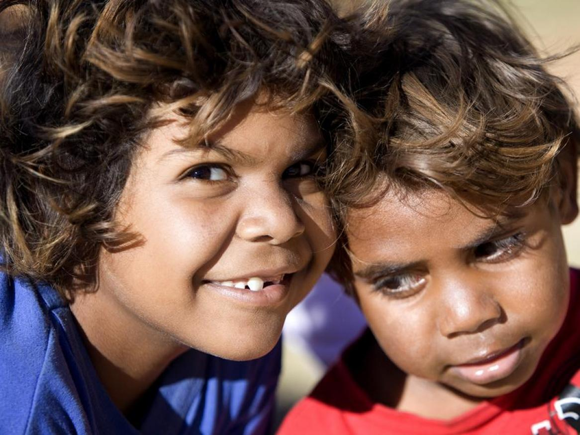 Close up image of two Indigenous children